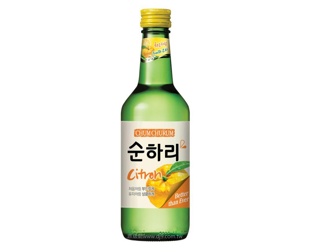 韓國 樂天 初飲初樂柚子風味燒酒.360ml