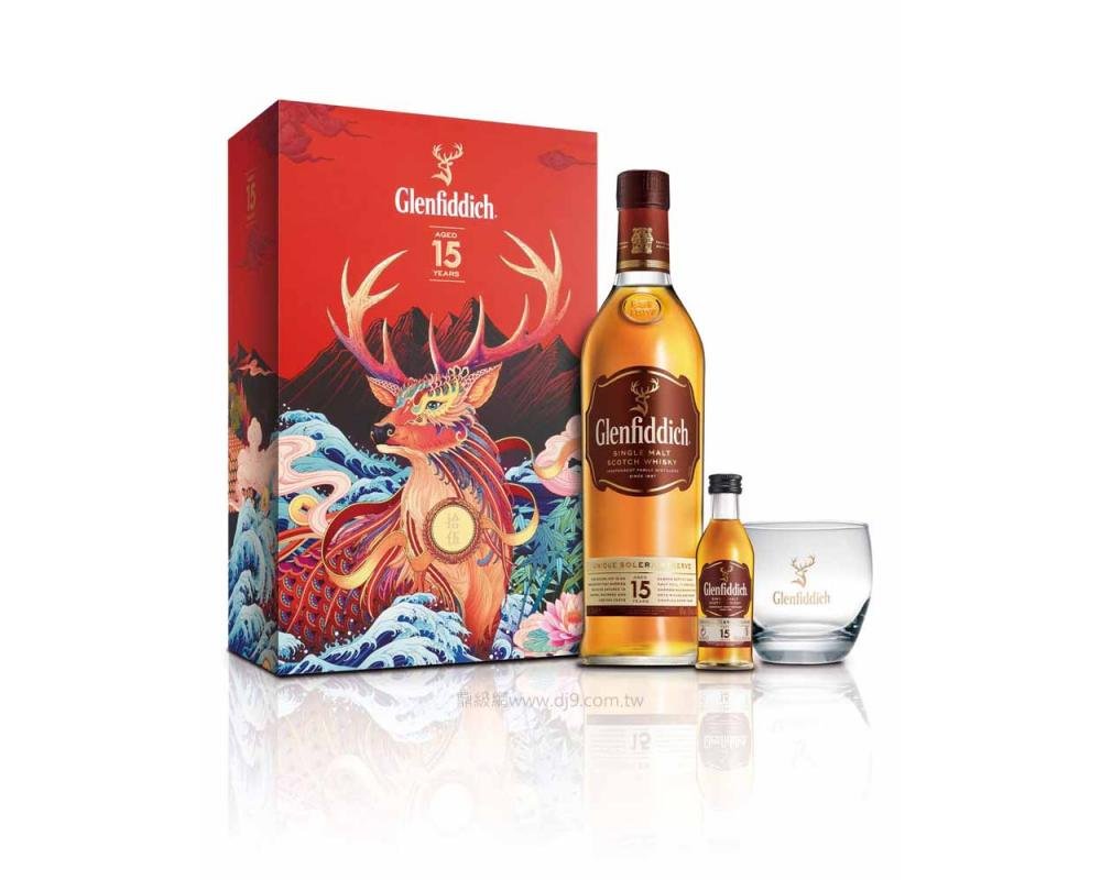格蘭菲迪15年威士忌禮盒-福鹿(2020新春限定)