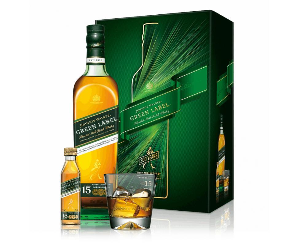 蘇格蘭 約翰⾛路綠牌 15年威⼠忌.700ml(威士忌禮盒-2021新春限定)