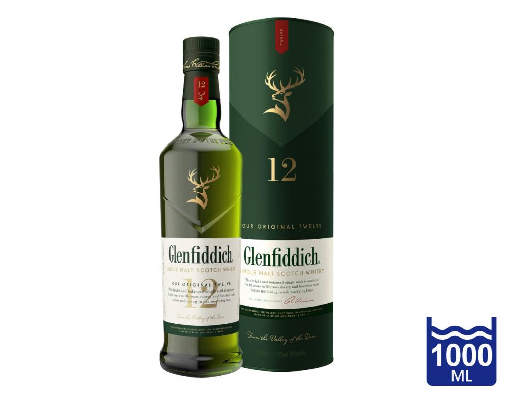 蘇格蘭 格蘭菲迪12年 單一純麥威士忌.1000ml
