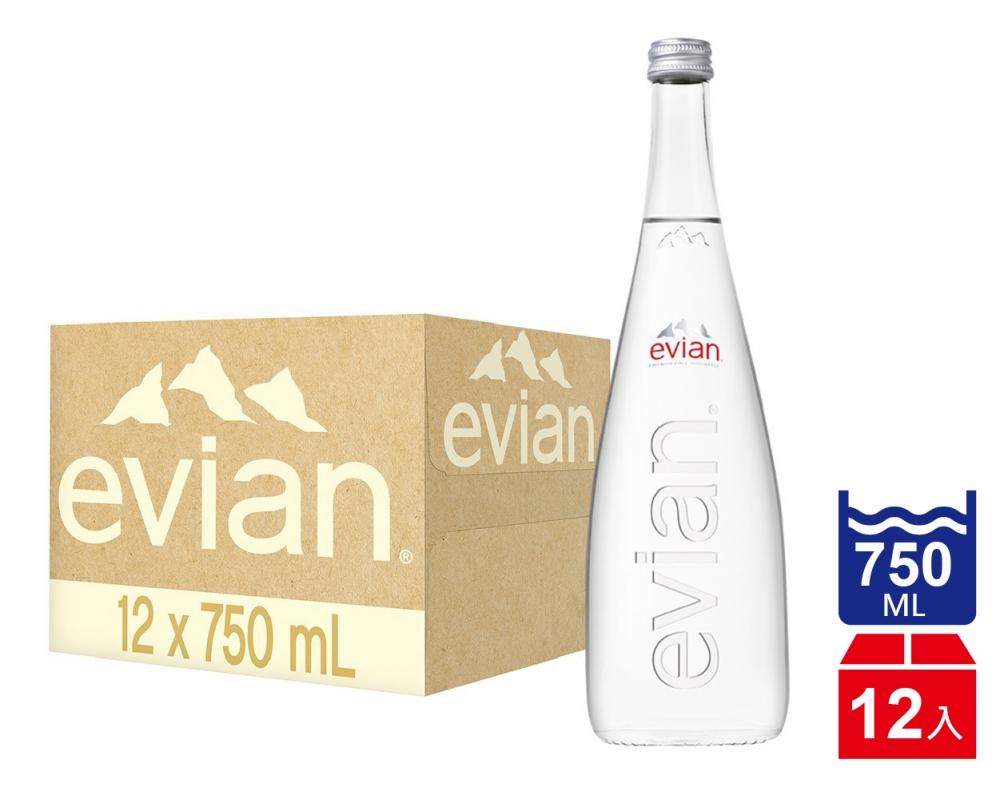 【Evian依雲】天然礦泉水_玻璃瓶750mlx12入)