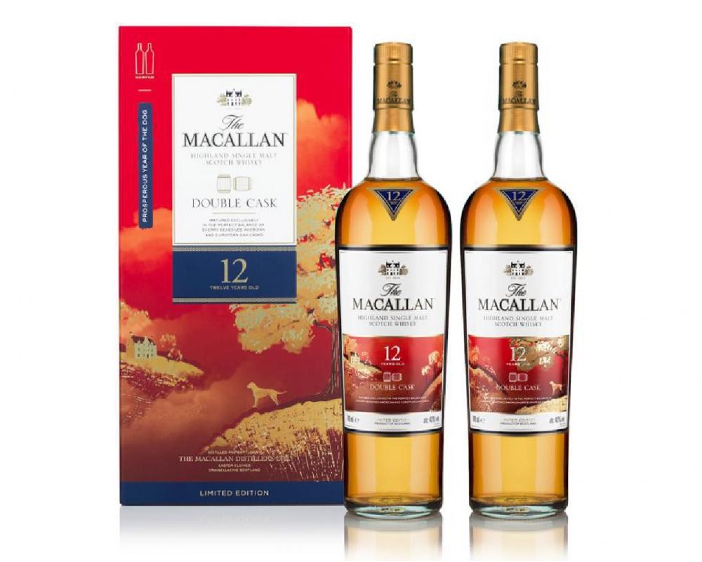 蘇格蘭 麥卡倫 雪莉雙桶 12年單一麥芽威士忌(2入)_威士忌禮盒-狗年限定.700ml