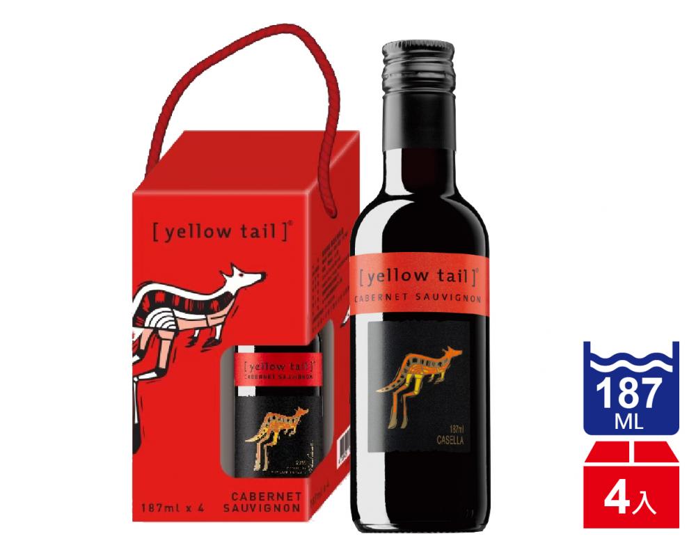 【葡萄酒禮盒】澳洲 黃尾袋鼠 卡本內蘇維翁紅葡萄酒(187mlx4入)
